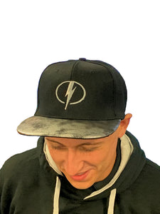 MK Lightning Black Snapback Cap with Lightning Bolt Logo and Silver/Black Peak