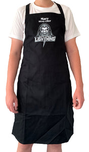 Personalised Black Kitchen / BBQ Apron featuring MK Lightning's Zeus