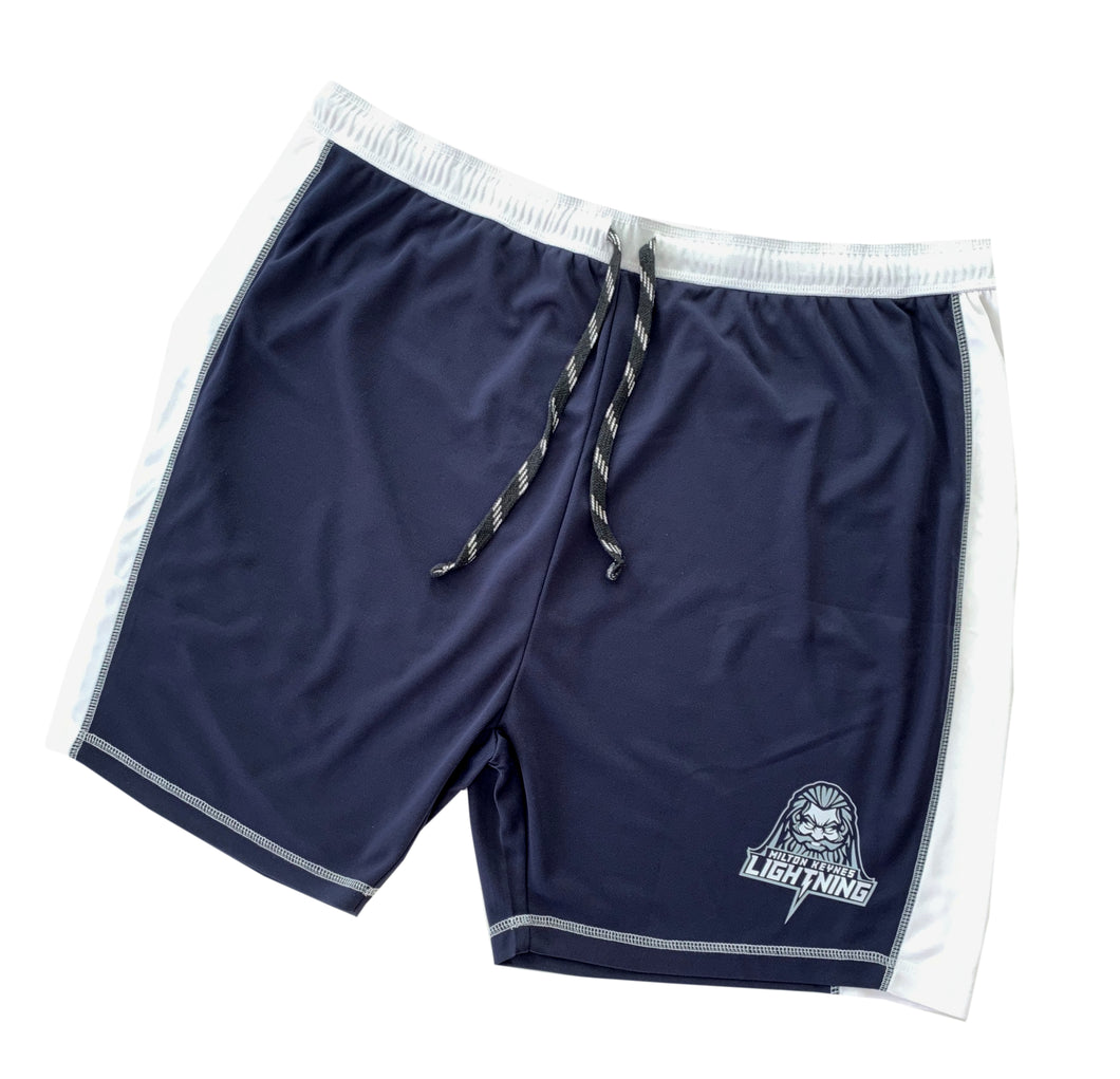 Navy and White Shorts Featuring MK Lightning's Zeus
