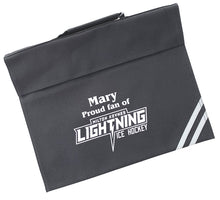 Load image into Gallery viewer, Personalised Black School Book Bag featuring MK Lightning Logo