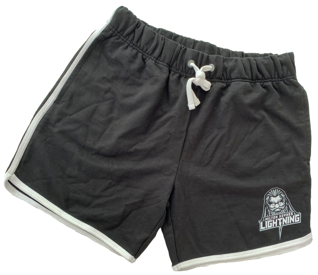 Black and White Men's Shorts Featuring MK Lightning's Zeus