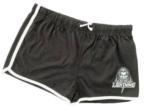 Black and White Ladies' Shorts Featuring MK Lightning's Zeus