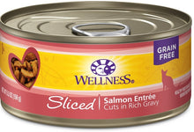 Load image into Gallery viewer, Wellness Grain Free Natural Sliced Salmon Entree Wet Canned Cat Food