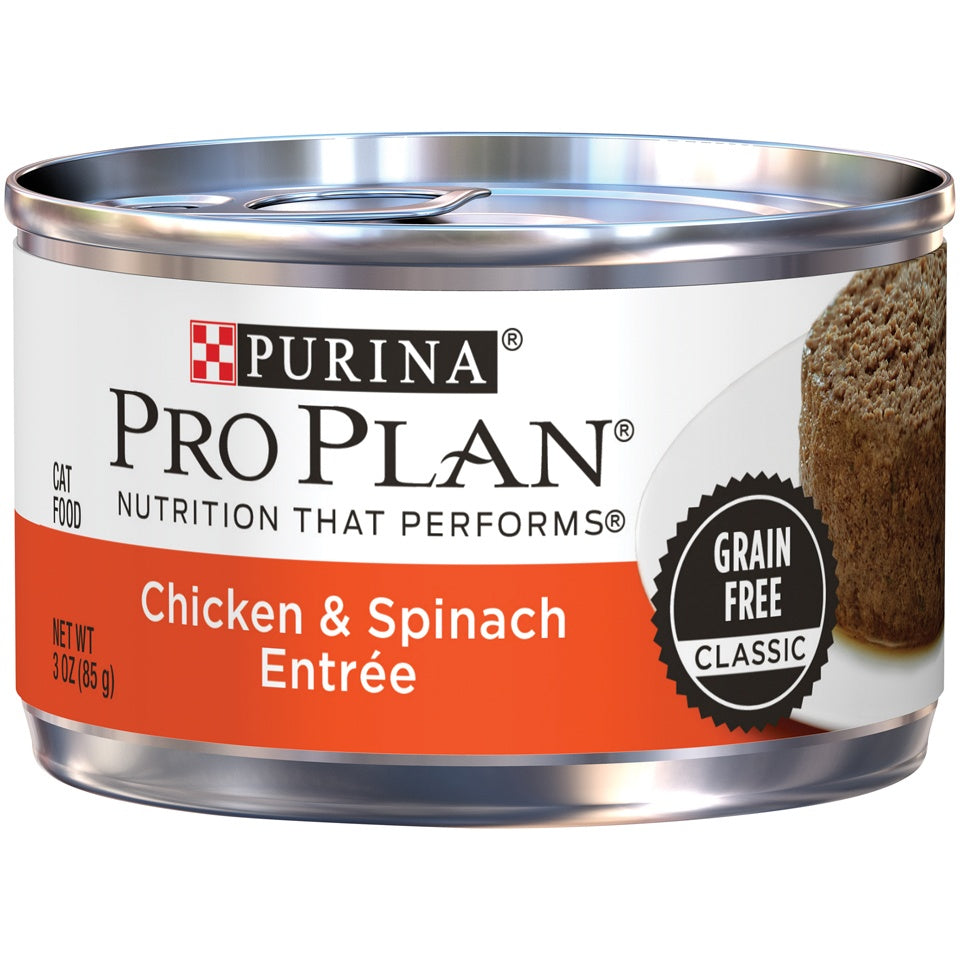 Purina Pro Plan Savor Adult Grain Free Chicken and Spinach Entree Classic Canned Cat Food