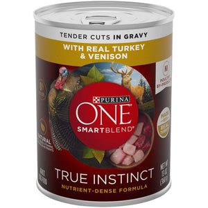 Purina ONE SmartBlend True Instinct Grain Free Turkey & Venison Tender Cuts in Gravy Canned Dog Food