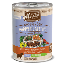 Load image into Gallery viewer, Merrick Grain Free Puppy Plate Beef Recipe Canned Puppy Food