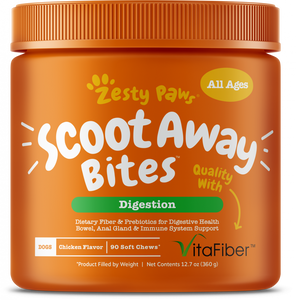 Zesty Paws Anal Gland Health Scoot Away Bites for Digestive & Immune Support Chicken Soft Chews for Dogs