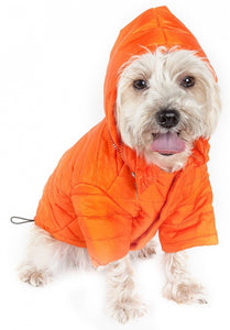 Pet Life Adjustable Orange Sporty Avalanche Dog Coat with Pop Out Zippered Hood