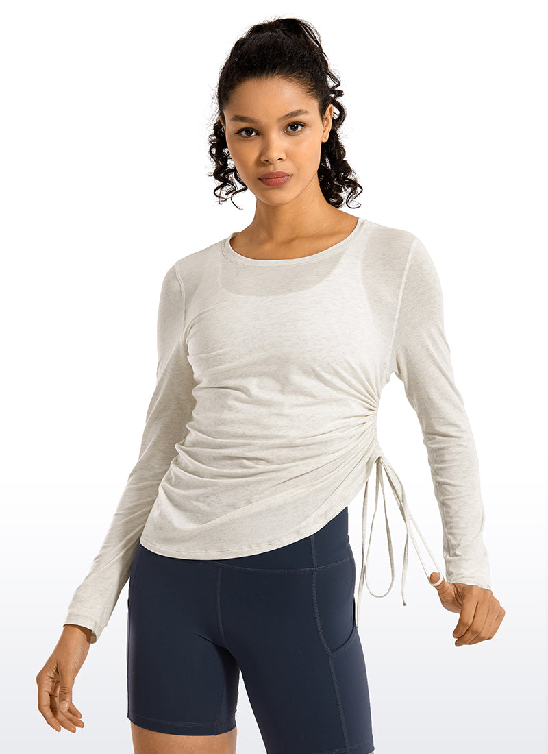 Pima Cotton Long Sleeves Cinched Side