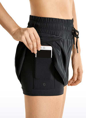 2 in 1 Running Shorts with Zip Pocket 3''