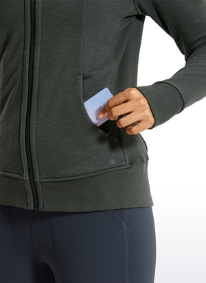 Cotton Terry Full Zip Hoodies Thumb Holes