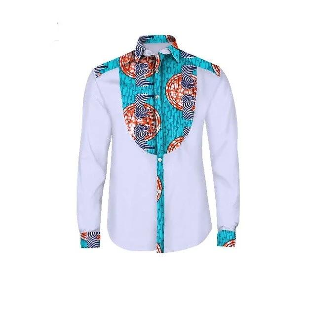 Chemise Africaine <br> Homme Ete Turquoise