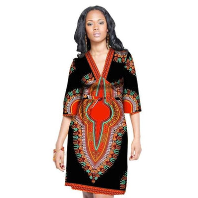 Robe Africaine Courte Tradition Noire Rouge