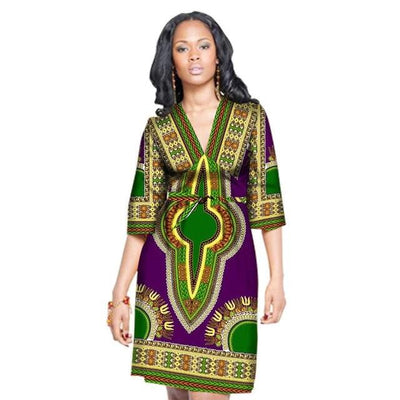 Robe Africaine Courte Tradition Violet Vert