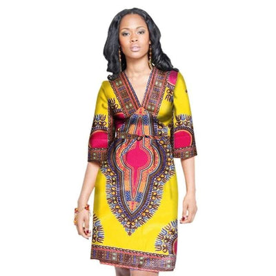 Robe Africaine Courte Tradition Jaune