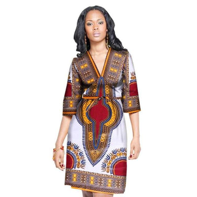 Robe Africaine Courte Tradition Blanche