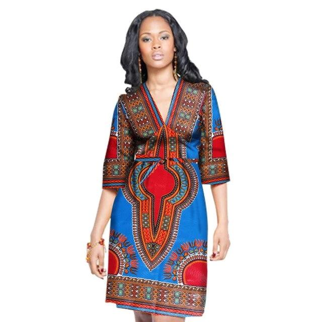 Robe Africaine Courte Tradition Bleu Rouge