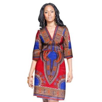 Robe Africaine Courte Tradition Rouge Bleu