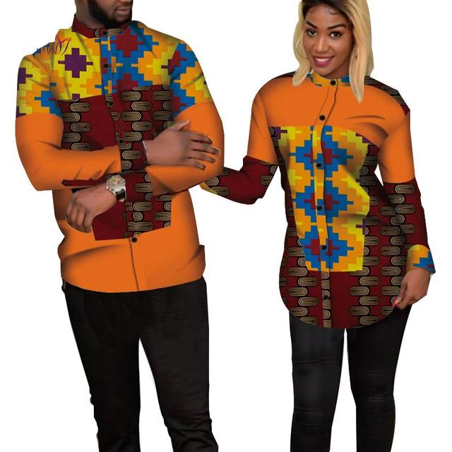 Chemise Africaine Couple Orange