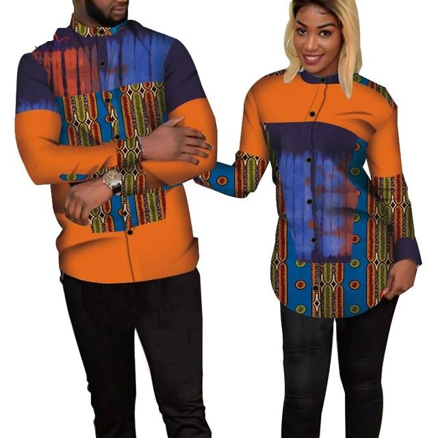 Chemise Africaine Couple Orange Violet