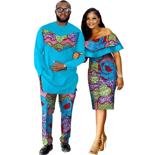 Costume Africain Couple Bleu Floral