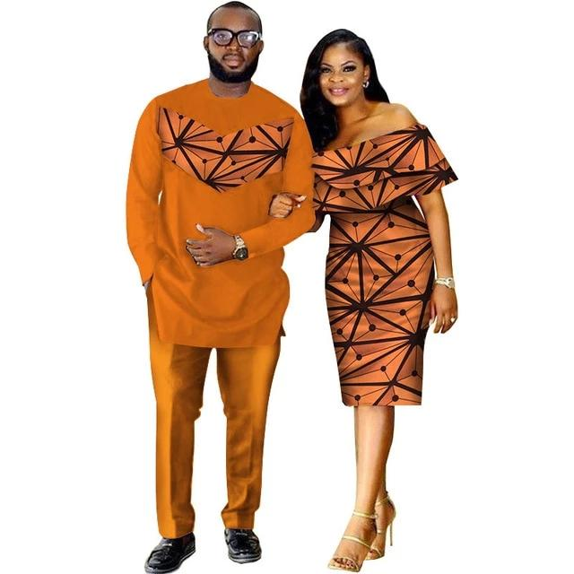 Costume africain couple full orange