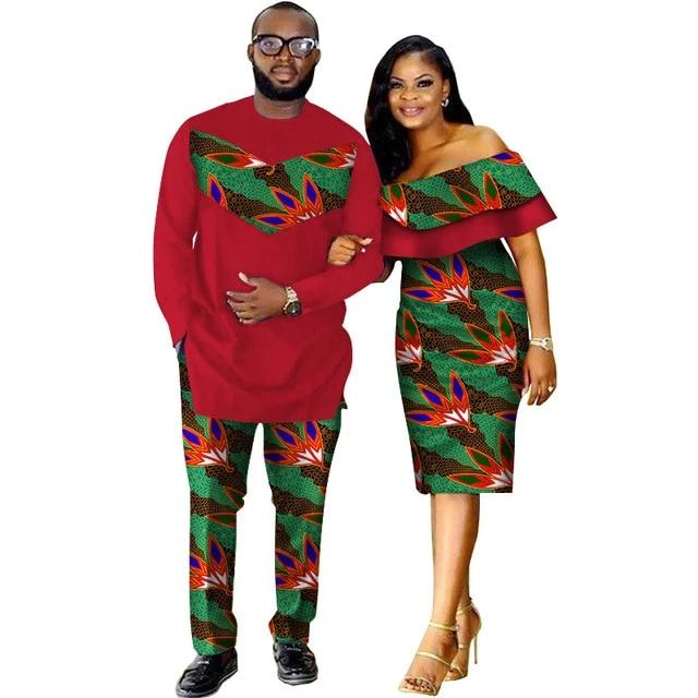 Costume africain couple rouge tropical