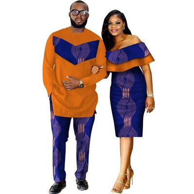 Costume Africain Couple Design Spirale