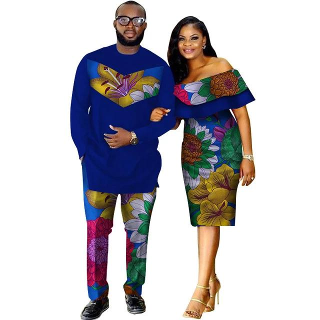Costume Africain couple motifs floral