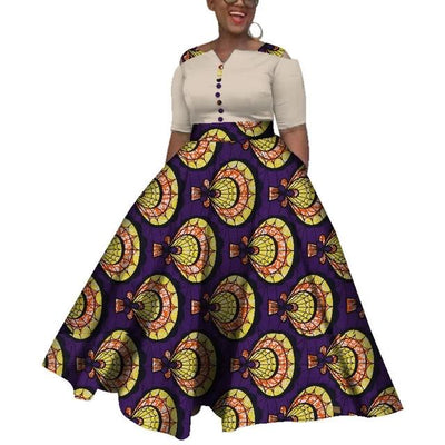 Robe Africaine Longue Coquillage Toilé