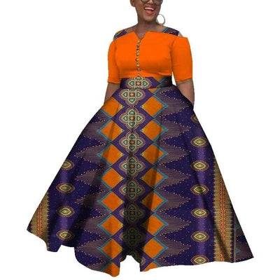 Robe Africaine Longue Motifs Multiple