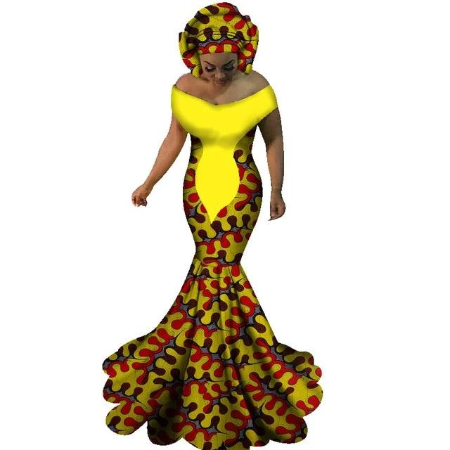Robe Africaine Longue Yellow Feuille