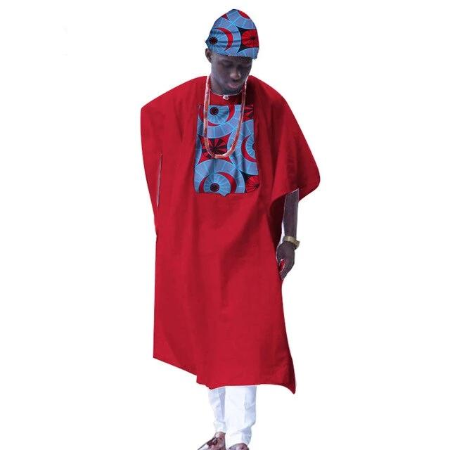 Boubou Africain Homme Demi Lune Rouge