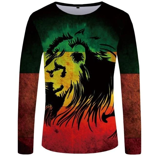 T-Shirt Lion Rasta Color (Long)