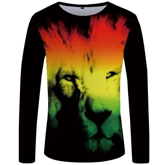 T-Shirt Lion Design Colorée (Long)