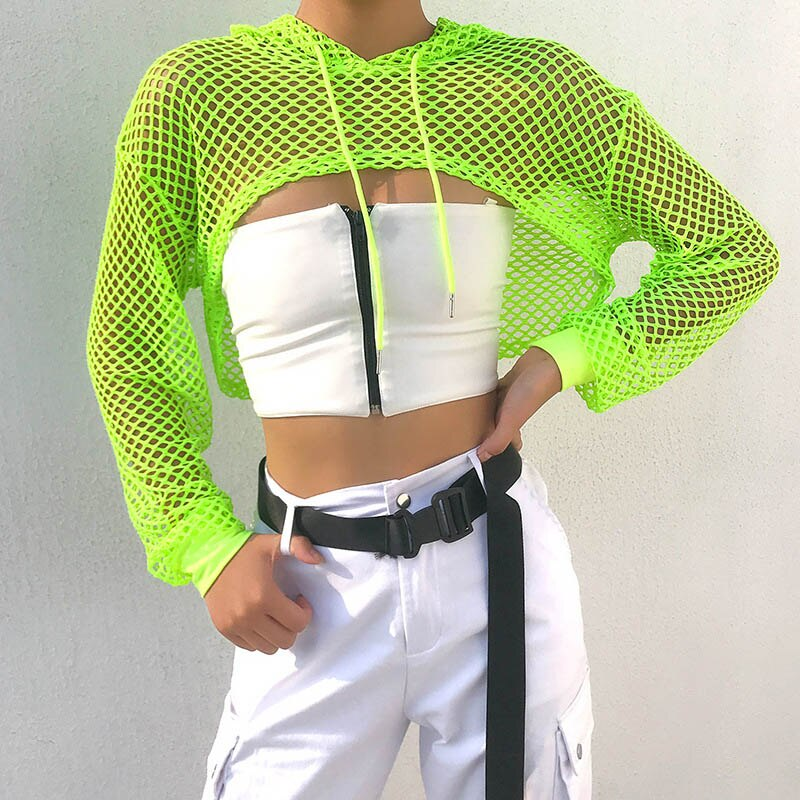 Top Com Capuz Streetwear Fishnet