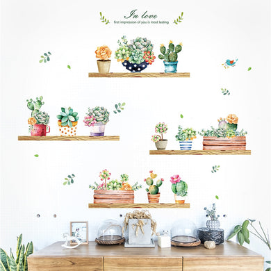 Garden plant bonsai home decor wall stickers for living room wall sticker flower kitchen PVC wall decals DIY decoration