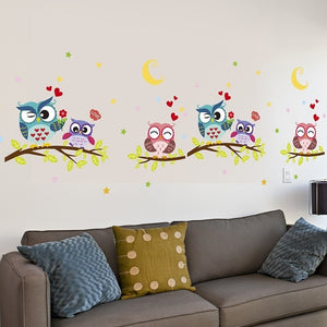 Lovely Wall Decal Owls On Branch, Removable Waterproof Wall Sticker baby children's room decoration