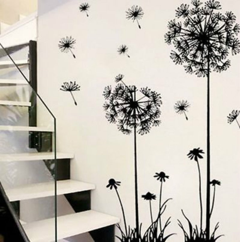 Stunning Black Dandelion Wall Stickers For The Living Room, Bedroom, Office