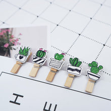Load image into Gallery viewer, 10 pcs/pack Creative cactus Wooden Clip Photo Craft DIY Clips with Hemp Rope  Clothespin Craft Decoration Clips Pegs
