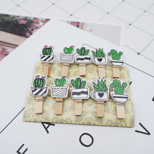 10 pcs/pack Creative cactus Wooden Clip Photo Craft DIY Clips with Hemp Rope  Clothespin Craft Decoration Clips Pegs