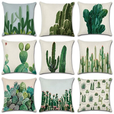 Cactus Series Green Plant Print 45*45cm Cushion Cover Linen Throw Pillow Car Home Decoration Decorative Pillowcase