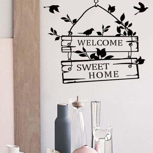 Cute Welcome Sweet Home Quotes Wall Stickers For Home Decor, Living Room