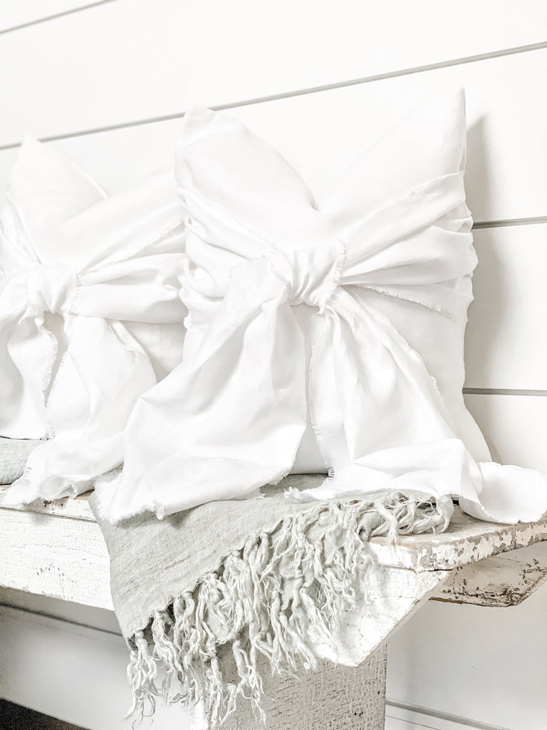 Vintage Linen Bow Pillow