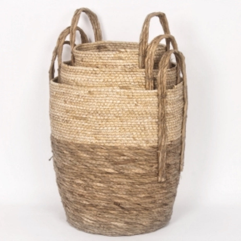 2 Tone Straw Basket Beige/Natural. Set of 3