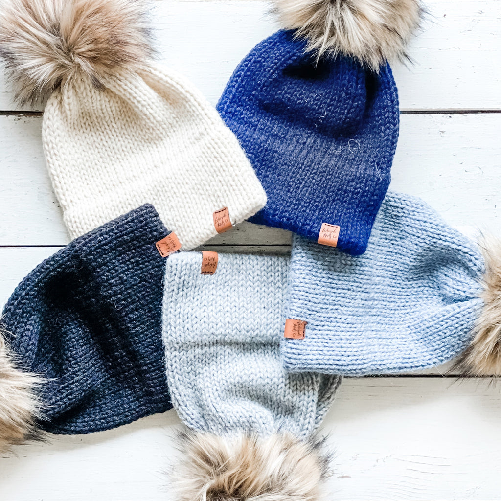 Knit Toque with Fur Pom