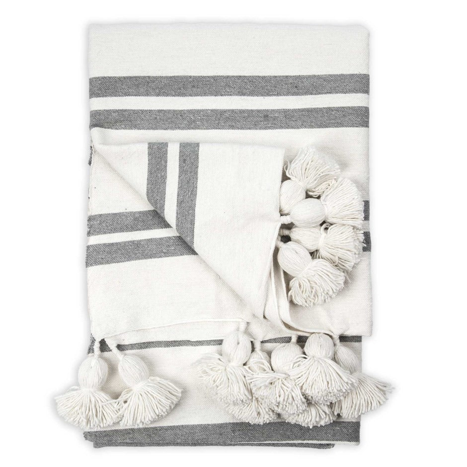 Moroccan Pom Pom Throw