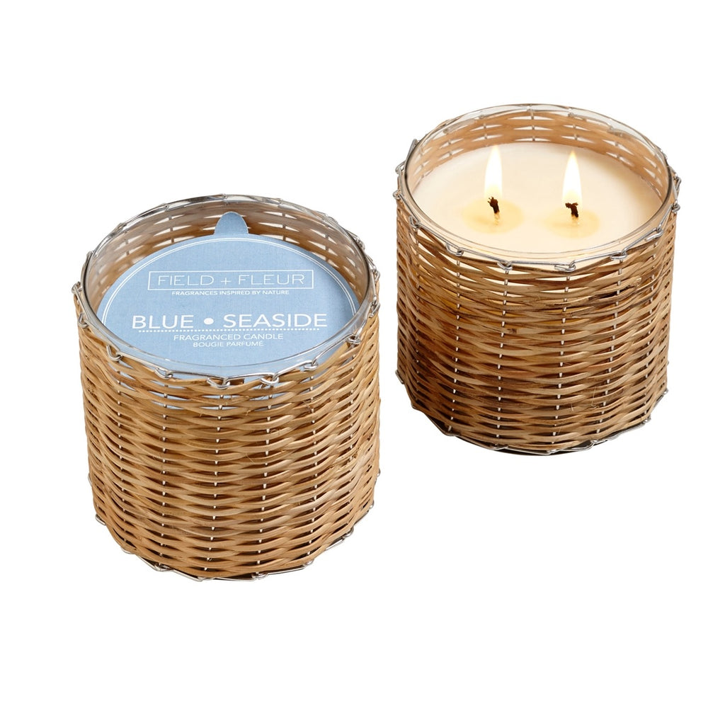 Blue Seaside Handwoven Soy 2 Wick Candle 12oz