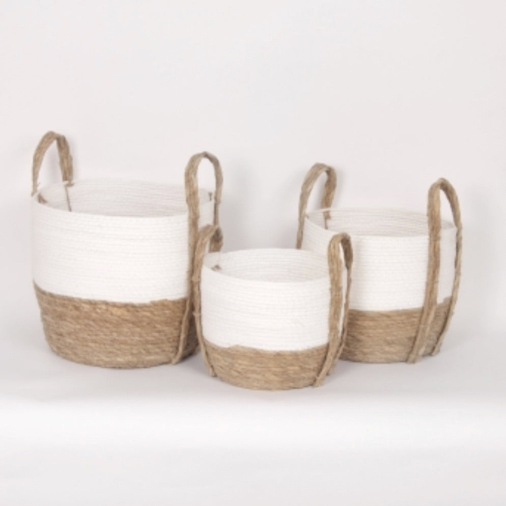 2 Tone White/Natural Basket set of 3