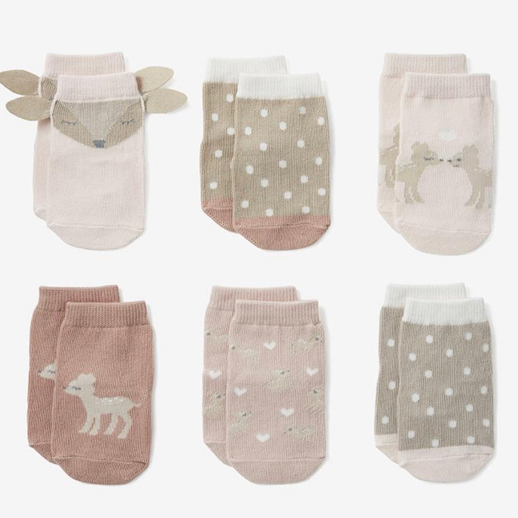 Fawn Non Slip Sock Set of 6